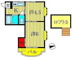 LEAFCOURT江戸川台A・B[A203号室]の間取り