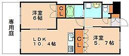 福岡県飯塚市勢田の賃貸アパートの間取り
