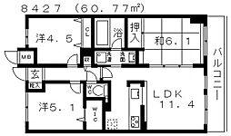 エスリード藤井寺[204号室号室]の間取り