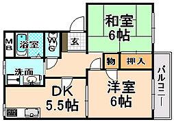 兵庫県伊丹市北伊丹3丁目の賃貸アパートの間取り