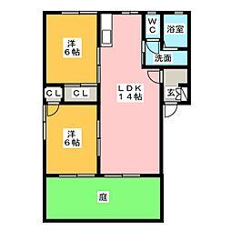 ソシア B棟[1階]の間取り