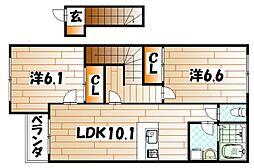 福岡県北九州市若松区和田町の賃貸アパートの間取り