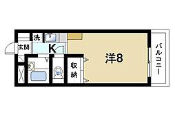 スタジオM 4階ワンルームの間取り
