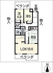 エクセレンス志賀本通[4階]の間取り