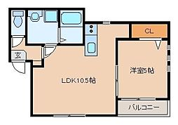 プルデント美野島[3階]の間取り