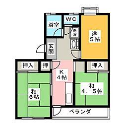 ハイツ古城[2階]の間取り