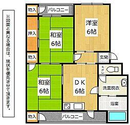 福岡県北九州市八幡西区永犬丸南町3丁目の賃貸アパートの間取り