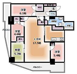ファミール守口駅前エアーズタワー 23階4LDKの間取り