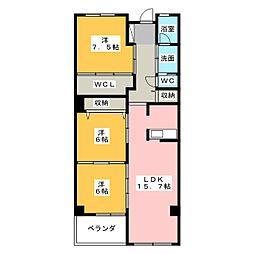 アンソレイエ覚王山[2階]の間取り