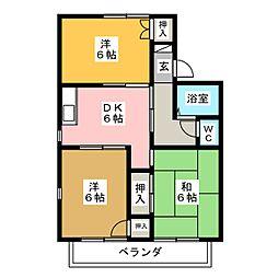 セジュール乗鞍 C棟[2階]の間取り