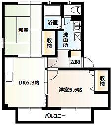 神奈川県平塚市八千代町の賃貸アパートの間取り