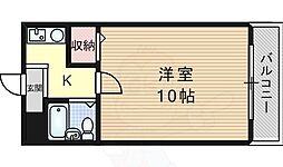 朝日が丘尾田ハイツ 3階1Kの間取り
