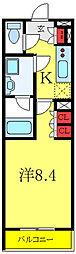 ベルシード板橋ノース 2階1Kの間取り