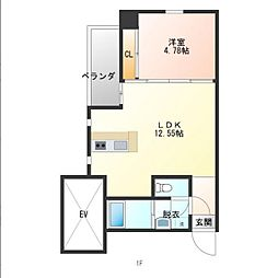 仮)おおひら共同住宅 5階1DKの間取り