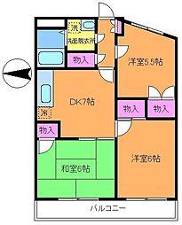 東京都調布市多摩川6丁目の賃貸マンションの間取り