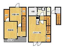 JR山陽本線 庭瀬駅 徒歩8分の賃貸アパート 2階2LDKの間取り