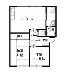 フレグランスメイビーB棟[1階]の間取り