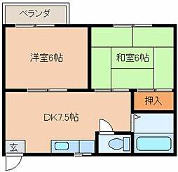 福岡県北九州市戸畑区銀座1丁目の賃貸アパートの間取り