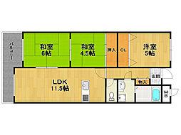 荻野ガーデンパレス[4階]の間取り