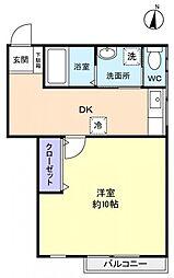 カサフローラ勝田台[2階]の間取り
