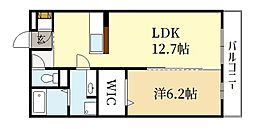 ヴェルドミール 1階1LDKの間取り
