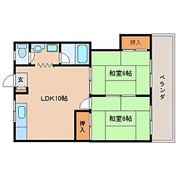 奈良県生駒市桜ケ丘の賃貸マンションの間取り