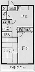 大阪府八尾市高安町北1丁目の賃貸マンションの間取り