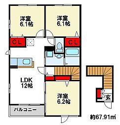 アベニューMII番館II[2階]の間取り