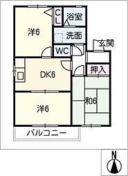 フレグランス六反田[2階]の間取り