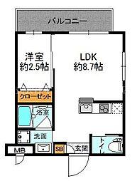 阪急千里線 豊津駅 徒歩2分の賃貸マンション 1階1LDKの間取り