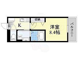 阪急千里線 豊津駅 徒歩5分の賃貸アパート 2階1Kの間取り