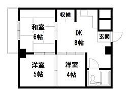 リバーサイド西賀茂[1階]の間取り