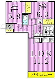クレストフォーチュンA[1階]の間取り