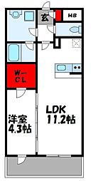 JR鹿児島本線 新宮中央駅 徒歩4分の賃貸マンション 4階1LDKの間取り