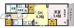 愛知県名古屋市昭和区天神町3丁目の賃貸アパートの間取り