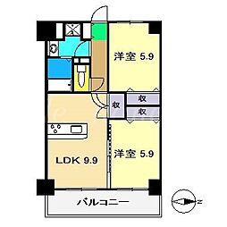 山中ハイツIII[2階]の間取り