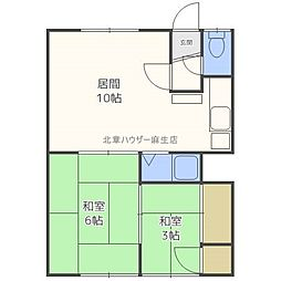 北海道札幌市北区新琴似十一条3丁目の賃貸アパートの間取り