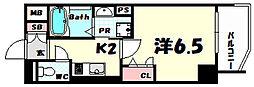 プレサンス三宮フラワーロード 12階1Kの間取り