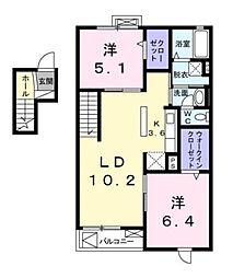 シエル・ブルー A[4階]の間取り