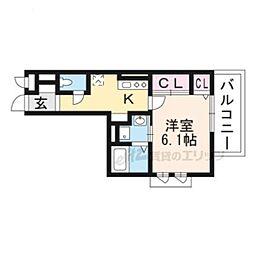 仮称)南区久世中久世町5丁目共同住宅B 2階1Kの間取り