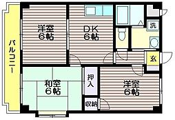 東京都調布市入間町2の賃貸マンションの間取り