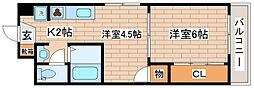 兵庫県神戸市灘区灘北通2丁目の賃貸マンションの間取り
