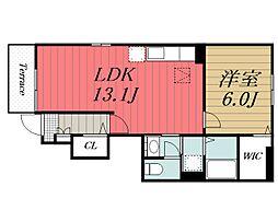 JR総武本線 四街道駅 バス10分 さとういちご園下車 徒歩5分の賃貸アパート 1階1LDKの間取り
