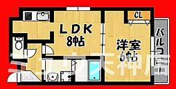福岡県福岡市南区平和1丁目の賃貸マンションの間取り