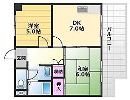 エスポワールイワタ2 1階2DKの間取り
