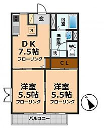 東京都杉並区松庵3丁目の賃貸アパートの間取り