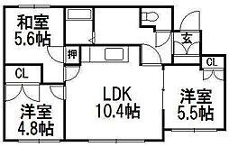 澄川コート[2階]の間取り