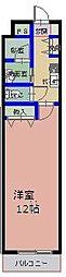 ハイムタケダT-10 4階1Kの間取り