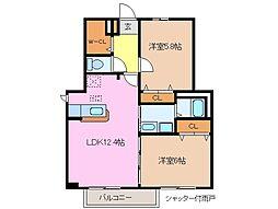 三重県津市庄田町の賃貸アパートの間取り