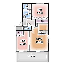 愛知県北名古屋市鍜治ケ一色東二丁目の賃貸アパートの間取り